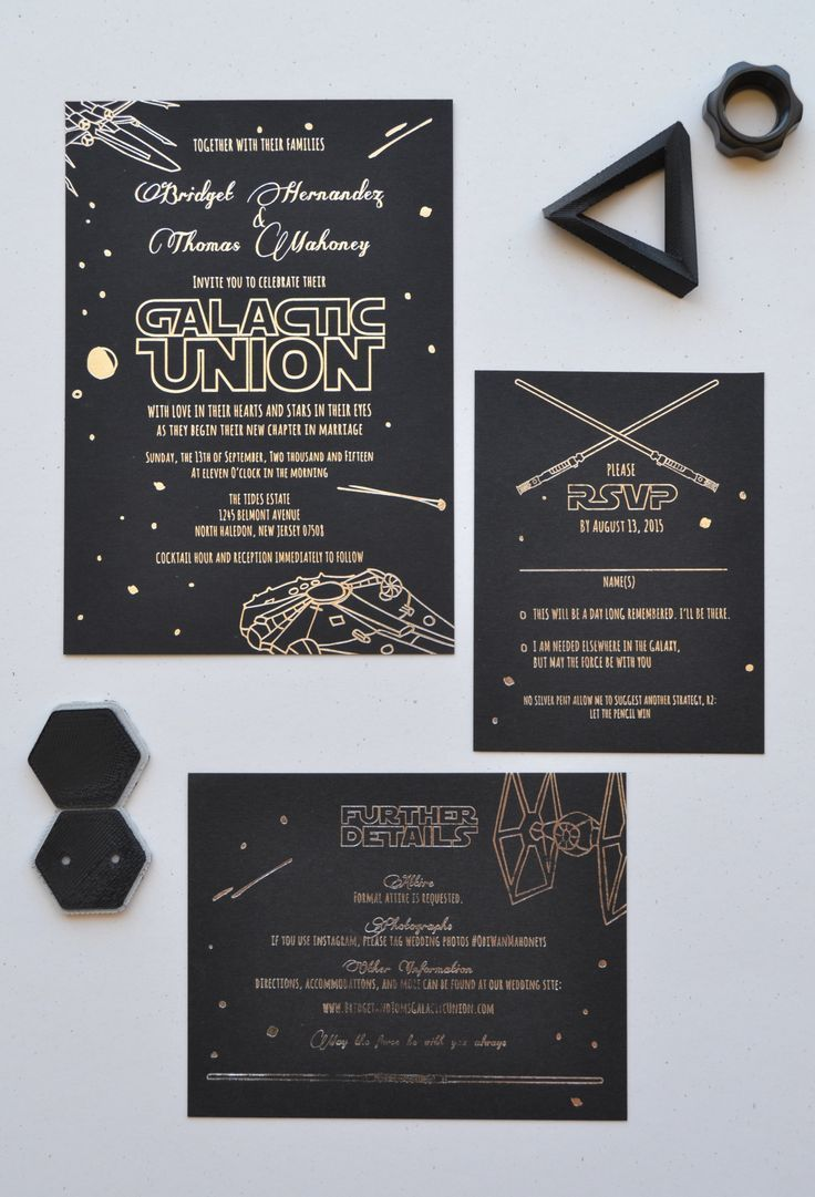 Star Wars wedding suite designed and printed by Ladybones Print