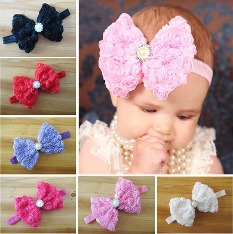 Baby Girls Rose FLOWER Bow Hairband Soft Elastic Headband Hair Accessories Band