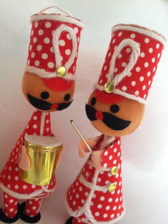 Marching Band Christmas Ornaments Part - 25: Three Mid Century Marching Band Christmas Ornaments