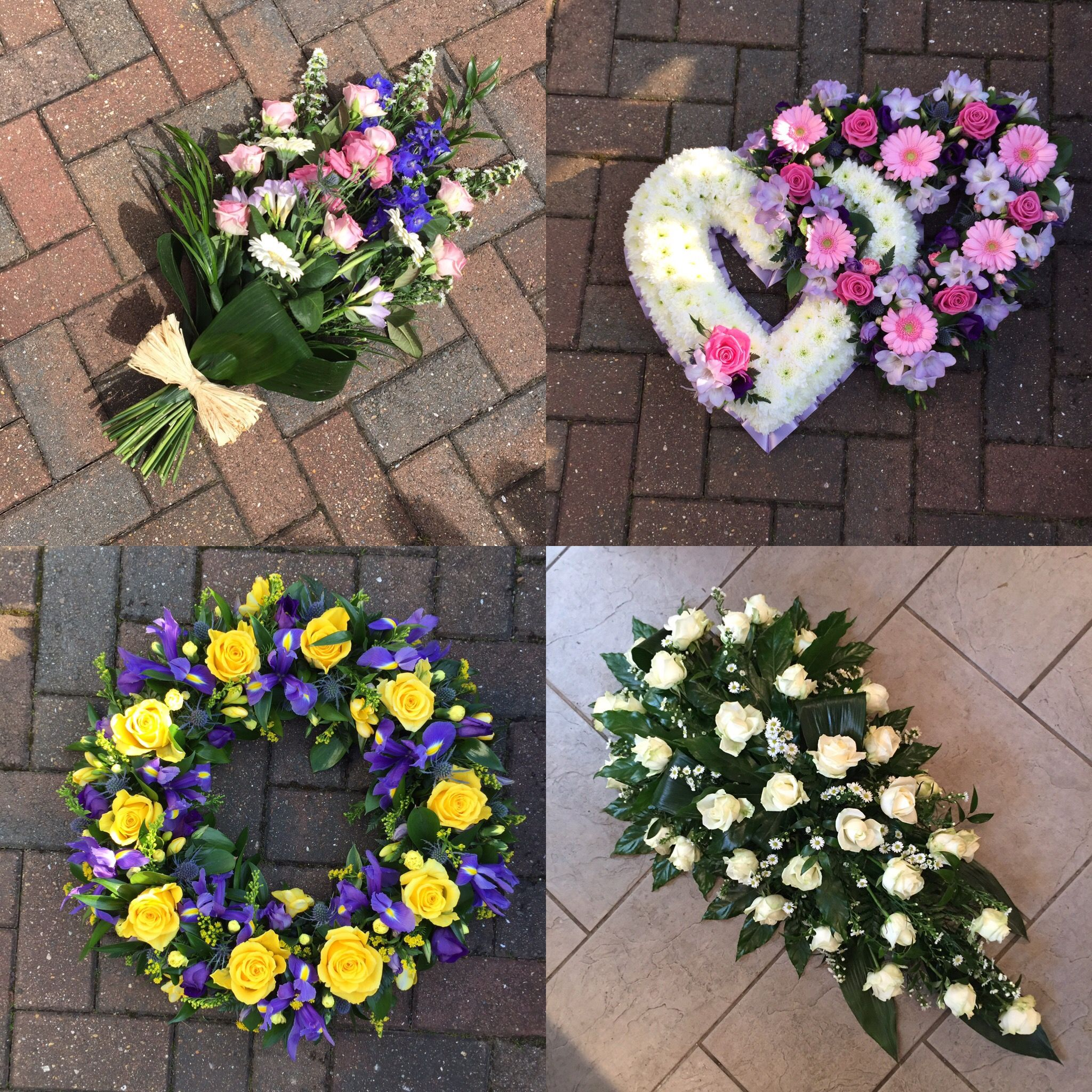 Funeral Arrangements For A Lady Wreath Coffin Spray Double Heart And Sheaf Designs I Funeral Floral Arrangements Funeral Flowers Funeral Flower Arrangements