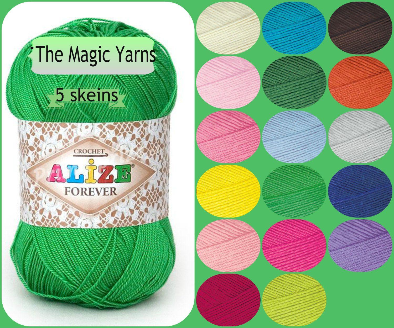 Alize Forever-Set of 5 skeins, Microfiber acrylic yarn, crochet yarn