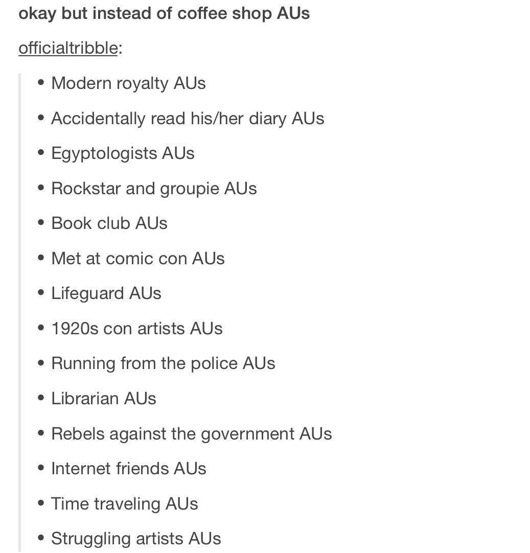 Fanfiction ideas//I've actually never written an AU before