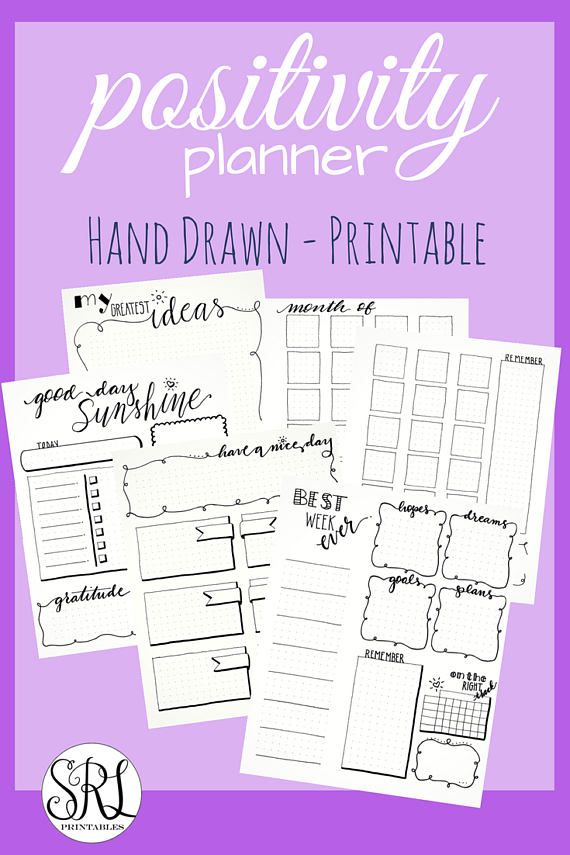 Hand Drawn Positivity Planner - Decorated Bullet Journal Templates