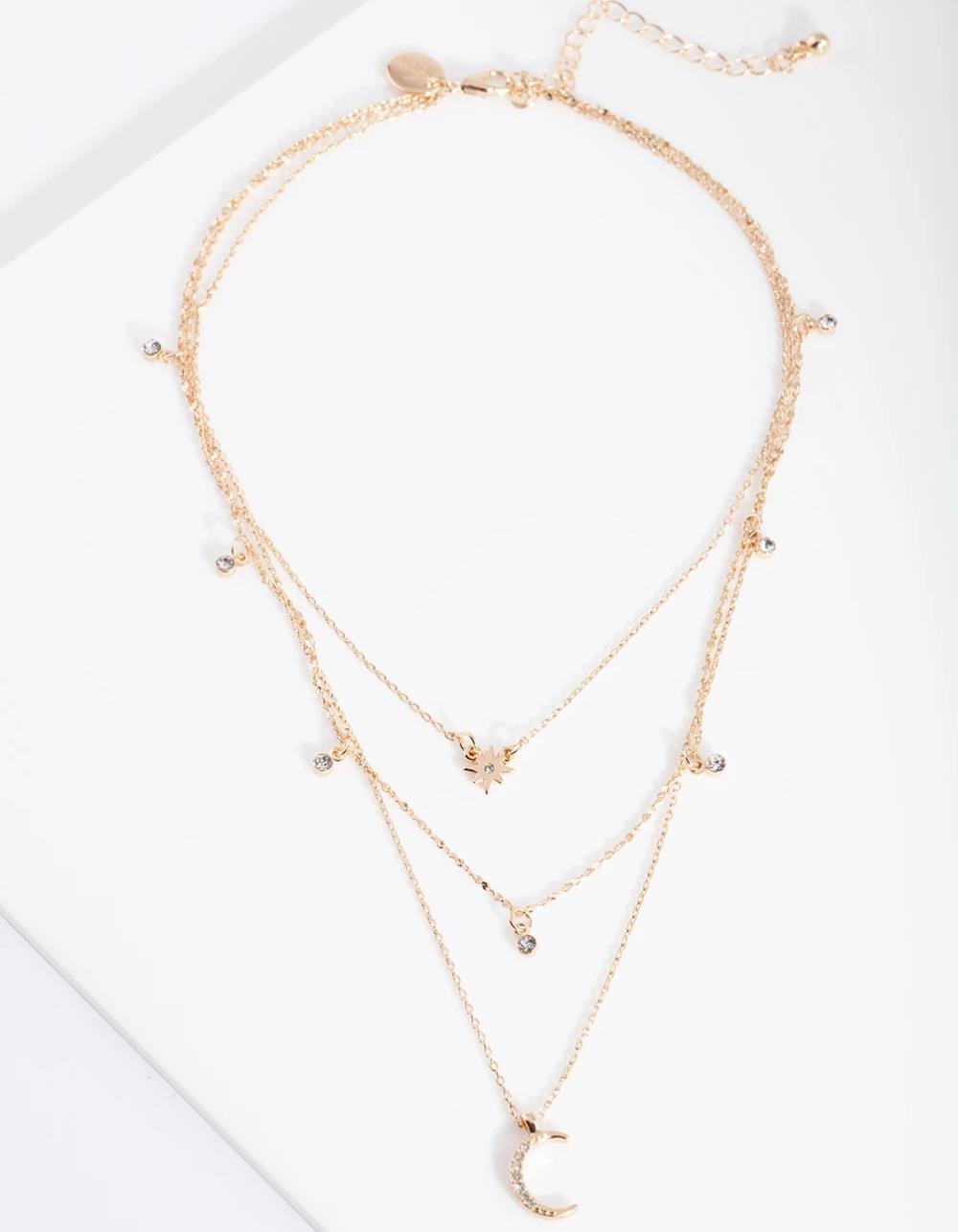 Gold Celestial Diamante Layered Necklace Lovisa Jewellery Celestial Jewelry Layered Necklaces