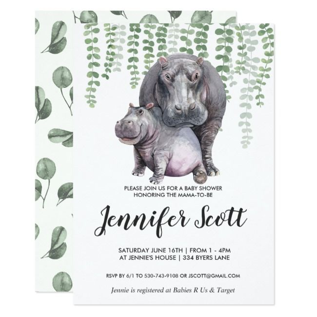 Baby Hippo Jungle Baby Shower Invitation | Zazzle.com #babyhippo