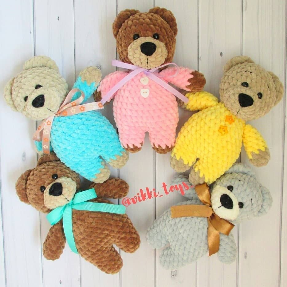 Crochet teddy bear in pajamas pattern (With images) | Crochet ... | 934x934