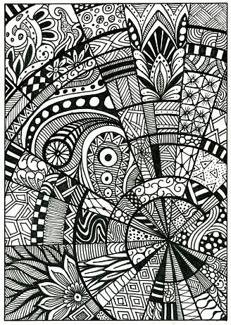 Doodle pattern drawing zentangle postcard Color THIS