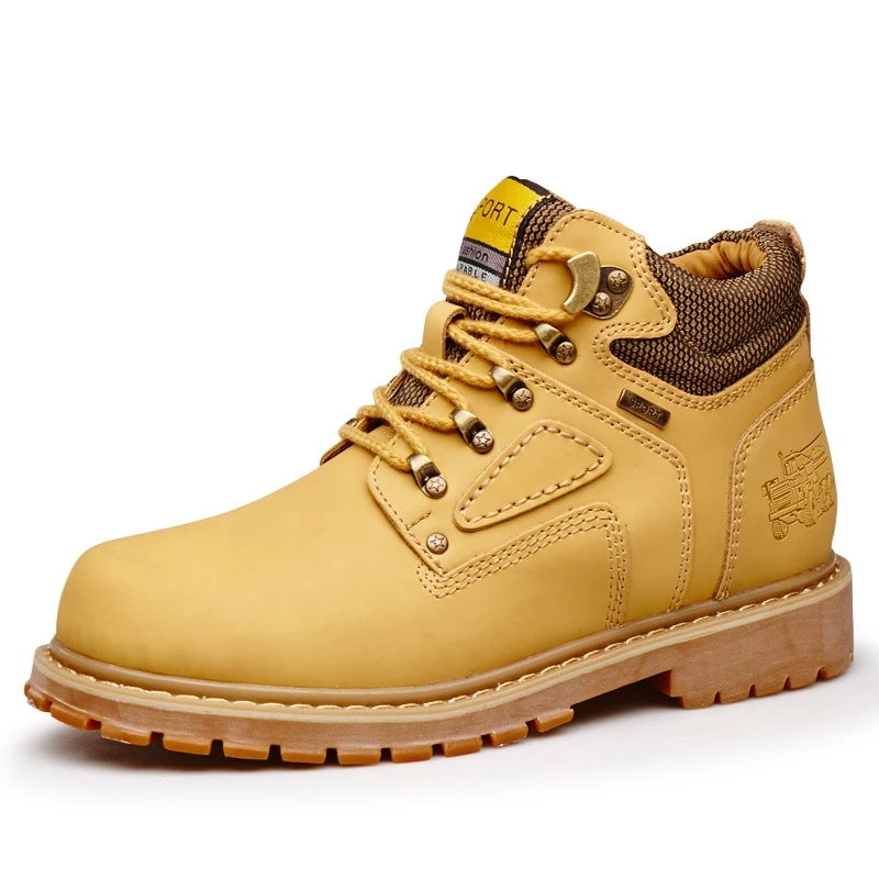 Yellow Cat Leather Ankle Boots Men Timber Men Casual Shoes