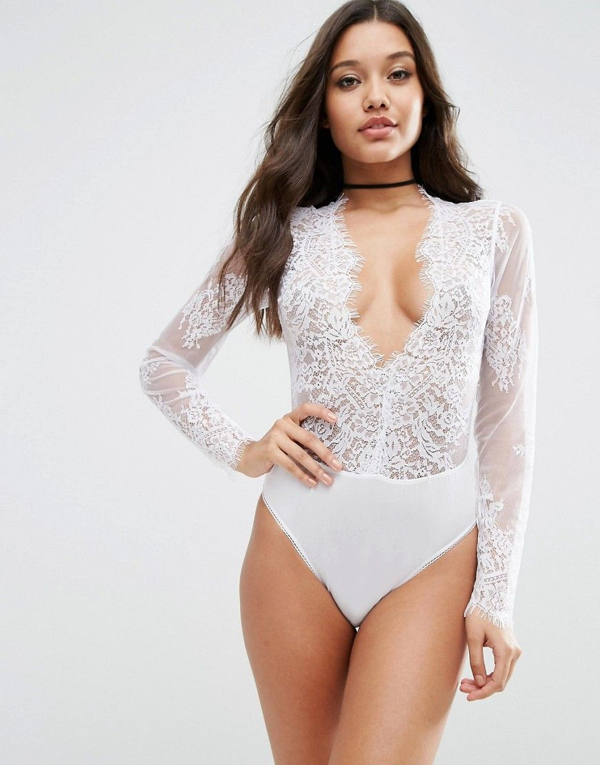 904ceb12500 ASOS Delicate Lace Plunge Bodysuit // #wishlist | Fashion | White ...