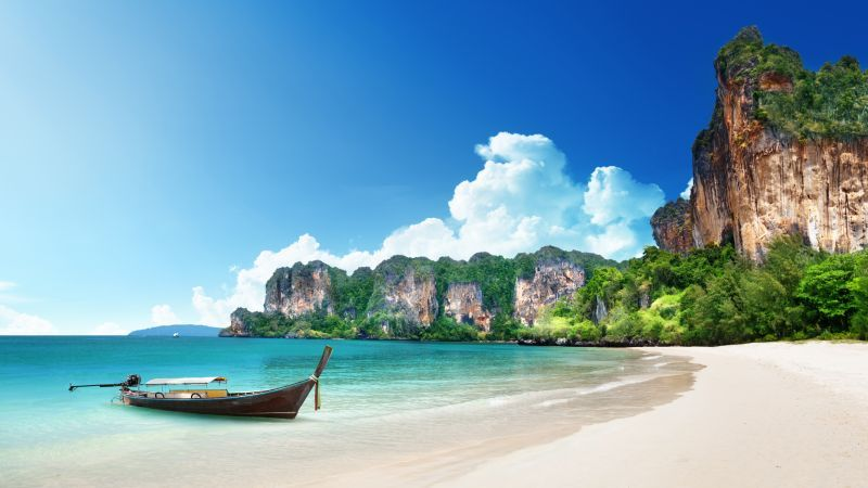 Thailand 5k 4k Wallpaper 8k Beach Shore Boat Rocks
