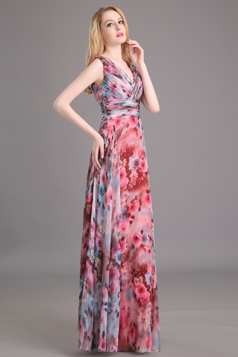 Charming A Line V Neck Lace Up Printing Ruffles Long Prom Dress ...