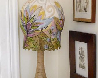 Unique hand painted paper mache lampshade with flowers in purple unique hand painted paper mache lampshade with flowers in purple and green shades aloadofball Gallery