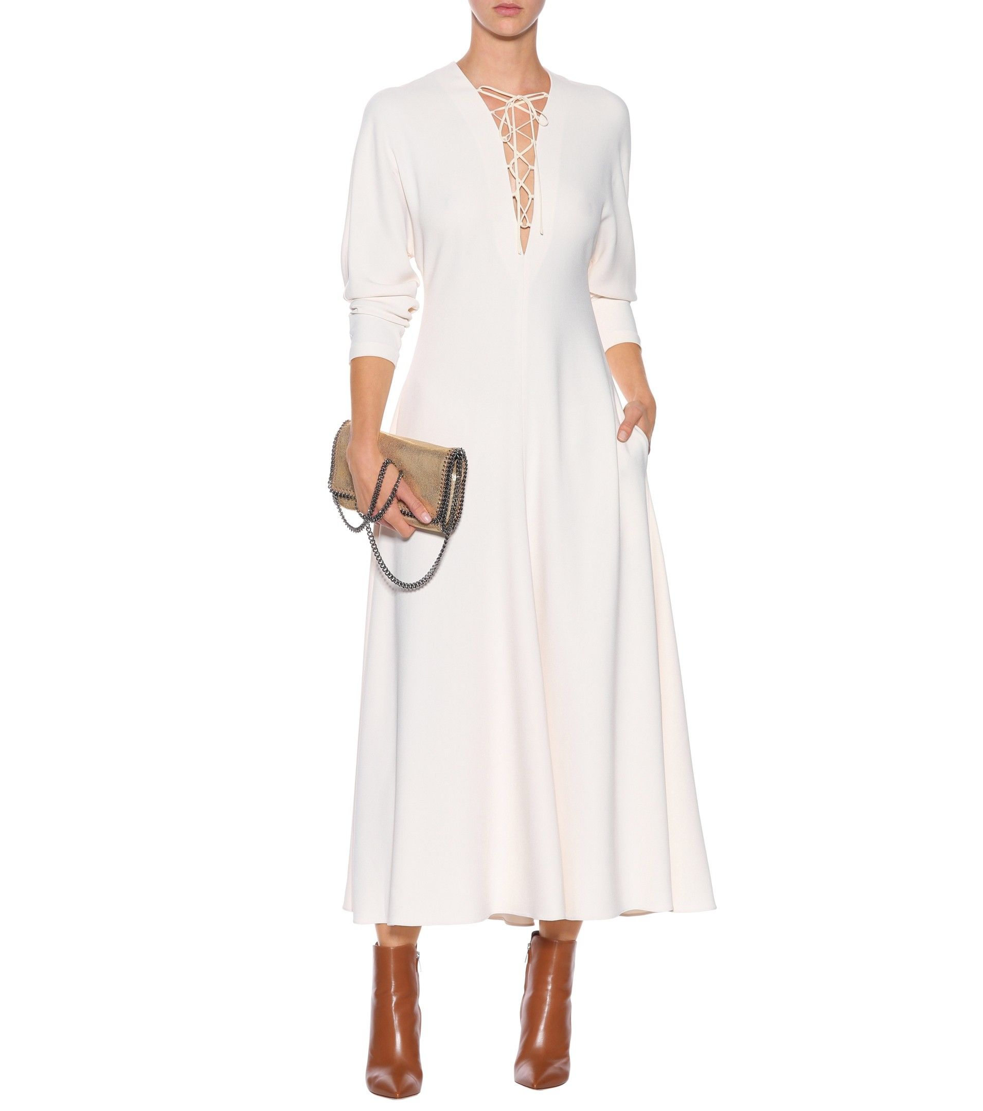 Stella Mccartney Juliet Stretch Cady Dress Mytheresa Com Dresses Mom Dress Long Sleeve Dress [ 2160 x 1911 Pixel ]