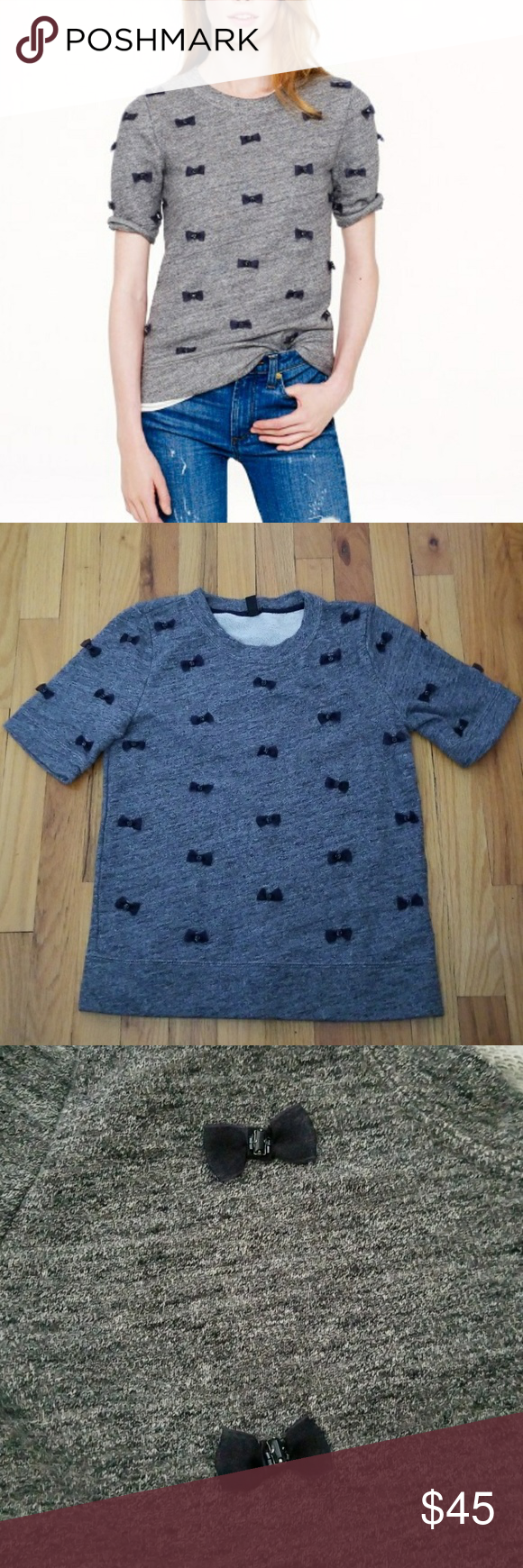 """NWOT J. Crew Mini-Bows Sweatshirt NWOT. J. Crew mini-bows sweatshirt. Size XS. Gray with navy blue bows and navy blue gems in the middle of each! Great condition! No missing gems, new shirt. See pics for materials and cleaning instructions. Short sleeve. 24"""" length. 16"""" bust laying flat armpit to armpit. Bows cover front of sweatshirt and front/back of sleeves. Not on actual back of shirt. J. Crew Tops Sweatshirts & Hoodies"""