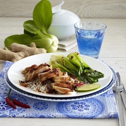 Glasierte Hähnchenfilets mit gedünstetem Pak-Choi Rezept