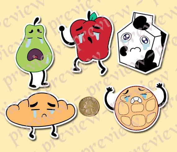 A set of five stickers of the crying breakfast friends: Sad Apple, Sniffling Croissant, Sad Pear,Spilled Milk, Sad Waffle from the cartoon Steven Universe    Printed on glossy sticker paper so they have a slight sheen to them. Not intended for outdoor use/recommended to not be fully submerged in water.   Sad Waffle: 3 1/4 x 2 1/2 Sad Pear: 2 x 1 5/8 Sad Apple: 2 3/4 x 3 1/4 Sad Milk: 2 1/2 x 3 Sniffling Croissant: 3 3/8 x 2   steven universe (c) rebecc...