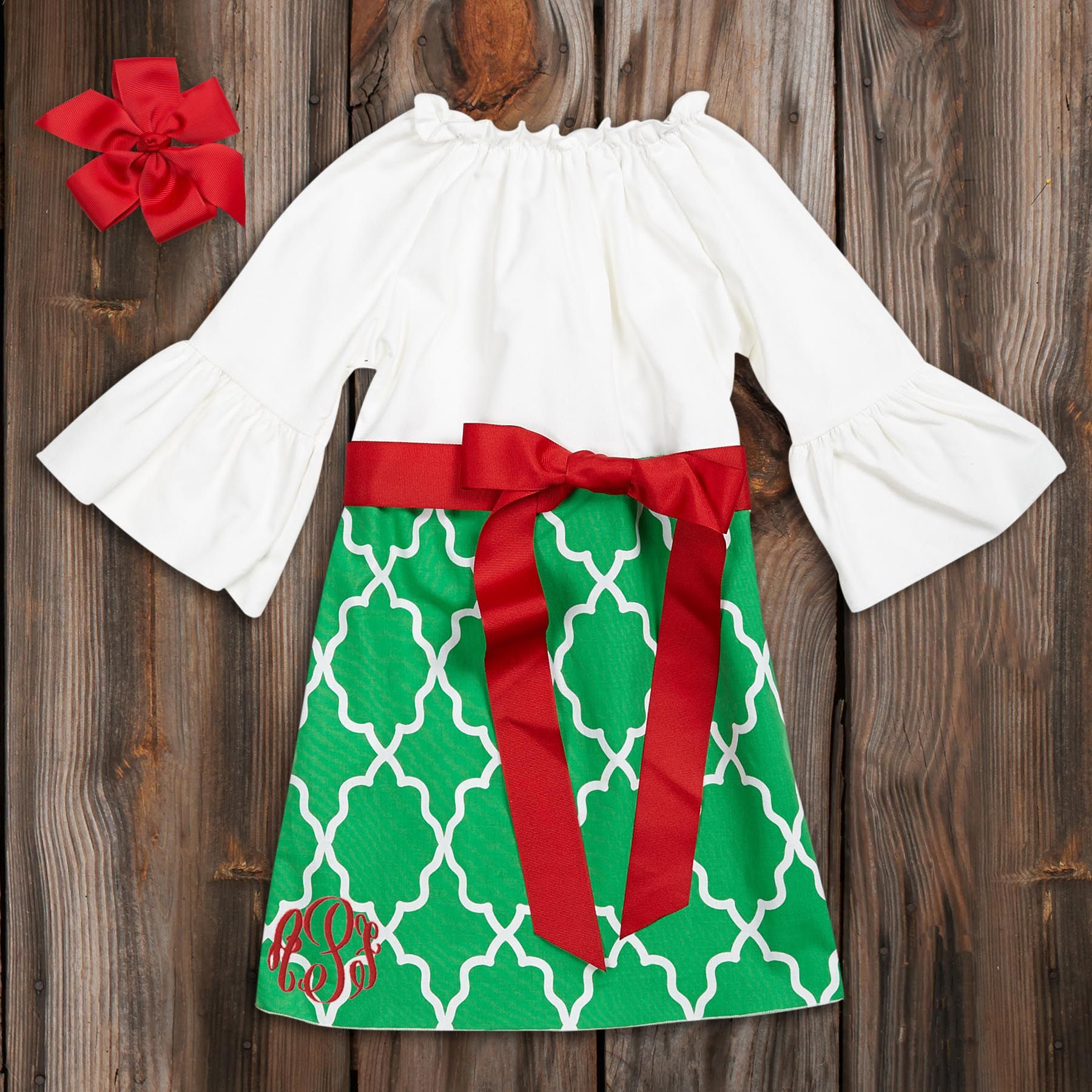 Green Lattice White Corduroy Sash Dress