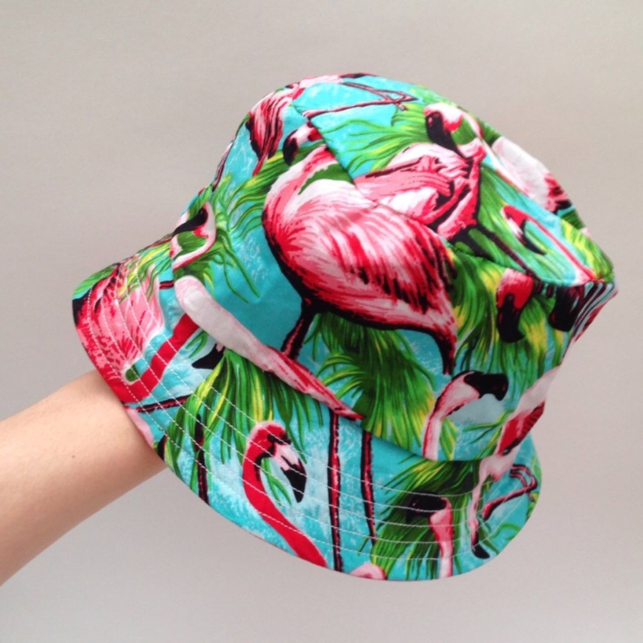 9060b21ecba7b6 Tropical flamingo bucket hat ~~~ Handmade by Chloe Louise! Perfect for  festivals & raves! ~~~ Max size 46cm round, will fit most people! ~~~ Lined  in pink ...