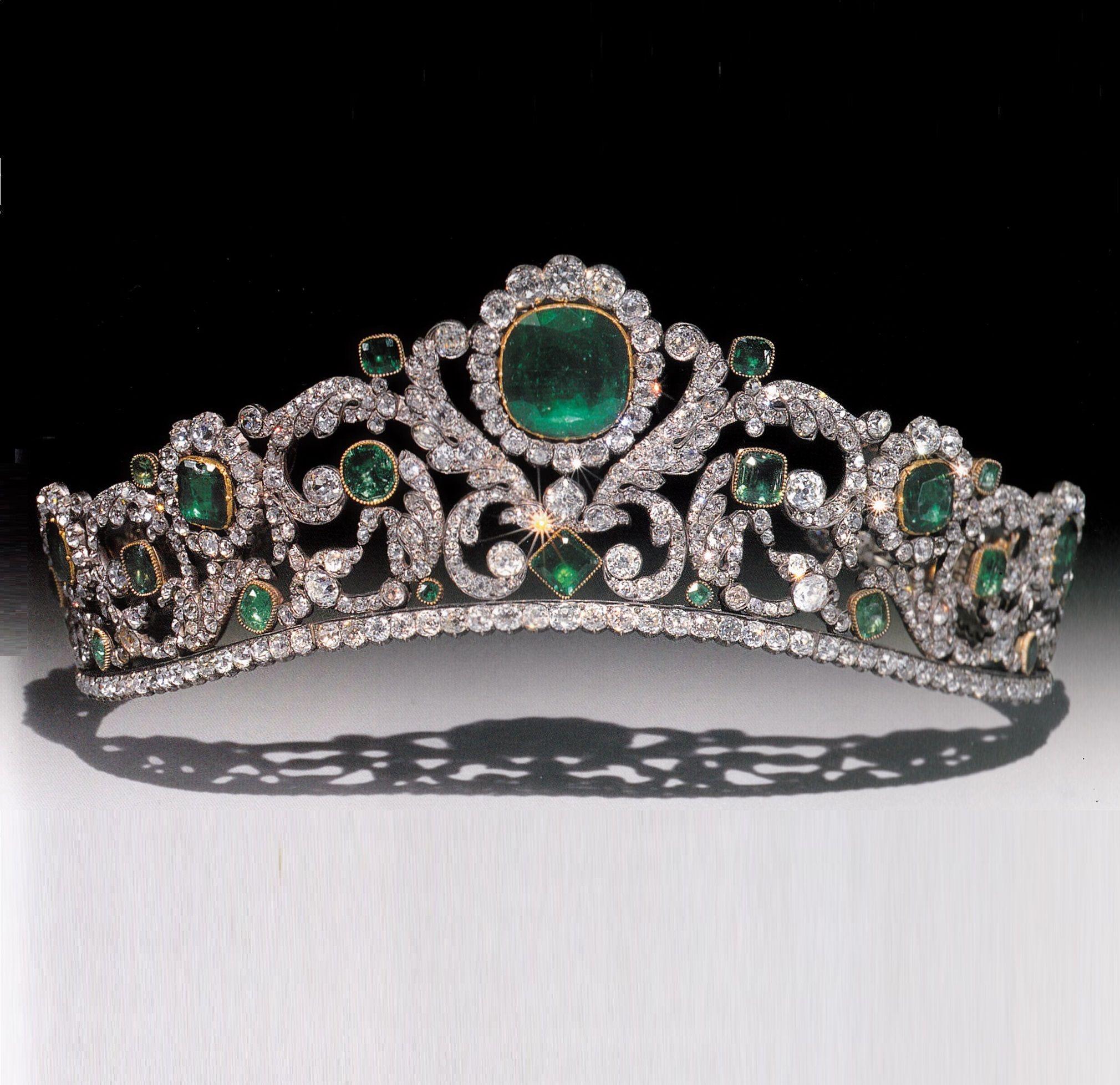 An antique emerald and diamond diadem, by Evrard and Frédéric Bapst, circa 1820…