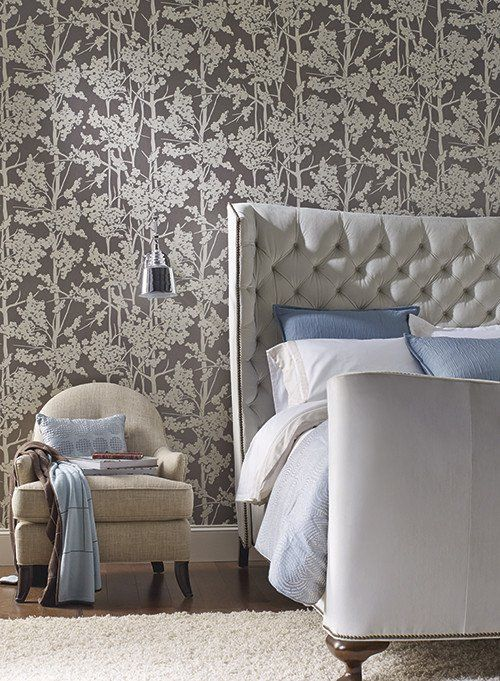 Haven wallpaper in pale blue and cream design by candice olson for yor burke decor