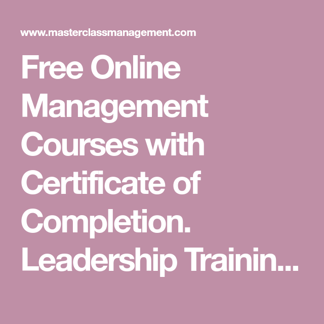 Free Online Management Courses With Certificate Of Completion