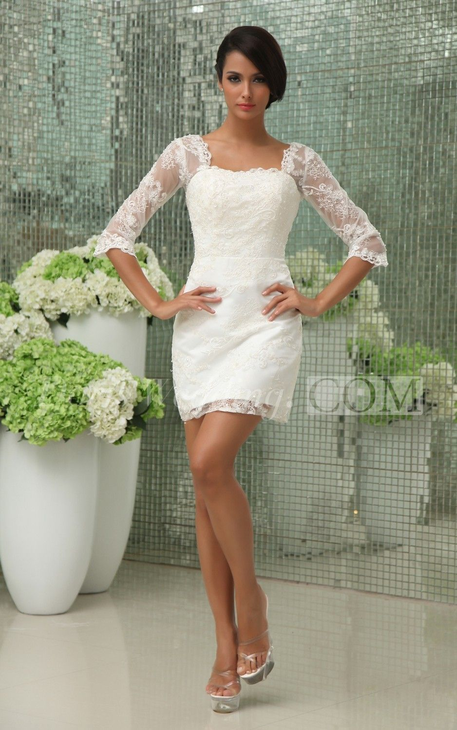 Short white dresses for wedding reception  Vintage HalfSleeve Short Dress With Lace Overlay  Lace overlay