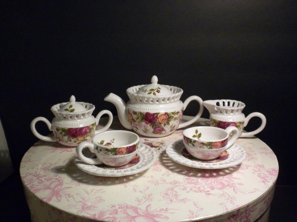 10 Piece Royal Albert Old Country Roses Miniature Child's Tea Set Mint In Box #royalalbert