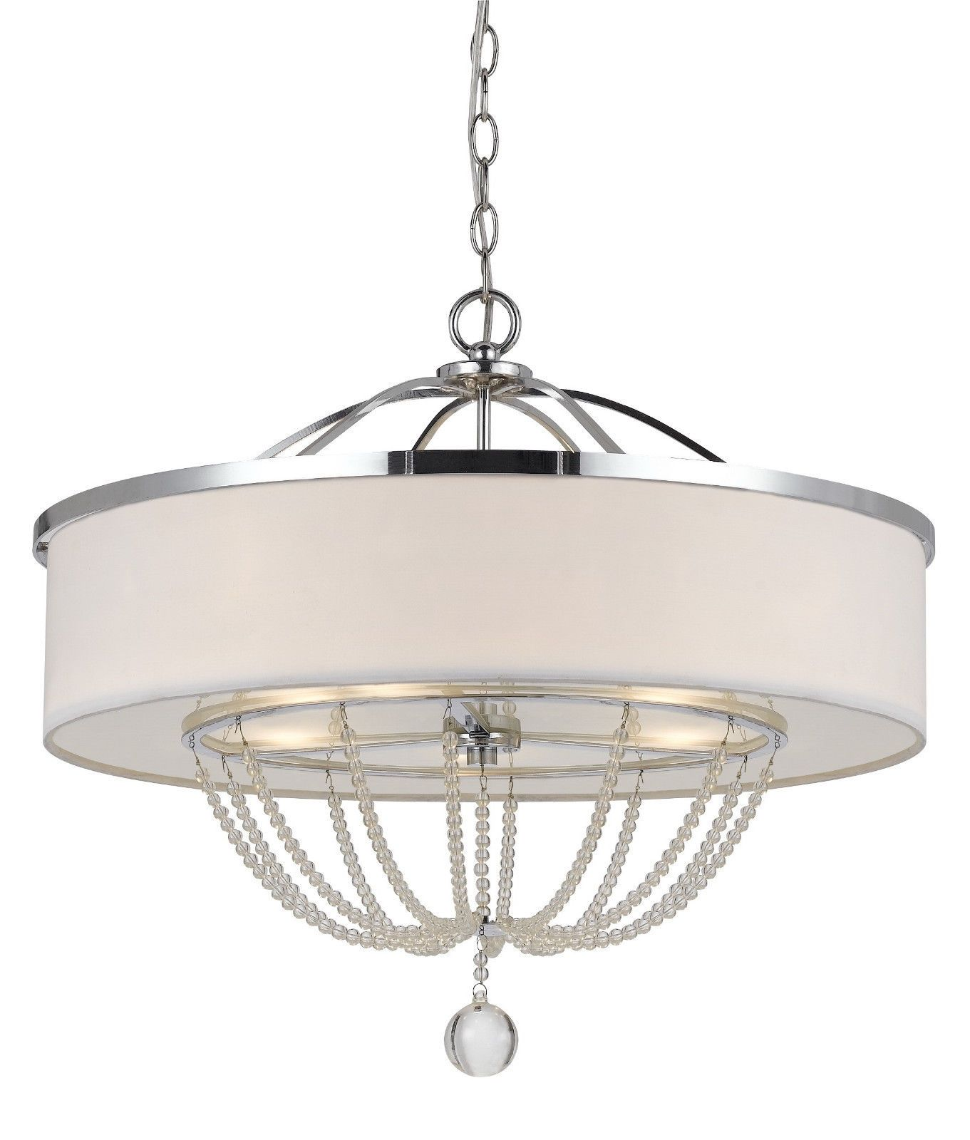 Modern White Fabric With Chrome Metal Crystals Drum Pendant Light Fixture Chandelier Hanging Lamp 24 Wide 21 High
