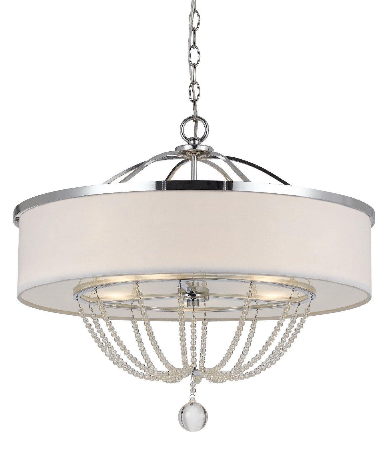 Modern Metal Chandelier: Modern White Fabric With Chrome Metal & Crystals Drum Pendant Light Fixture  Chandelier Hanging Lamp 24,Lighting