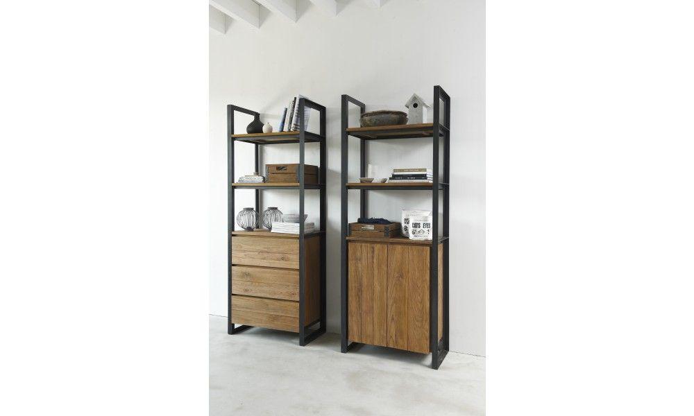 Boekenkast smal. Smalle boekenkast met 3 open vakken en 3 lades ...