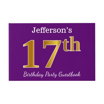 Purple faux gold 17th birthday party custom name guest book 17 purple faux gold 17th birthday party custom name guest book elegant gifts gift ideas bookmarktalkfo Image collections