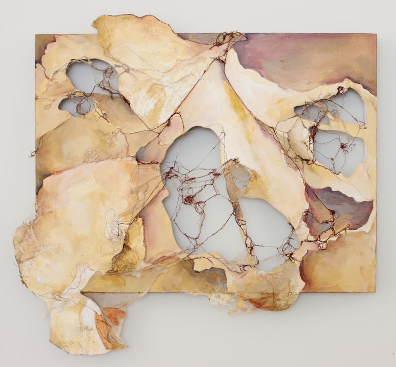 """Holding It Together by Deeann Rieves - machine embroidery, canvas, mixed media on cut wood panel 24x26"""" 2010"""
