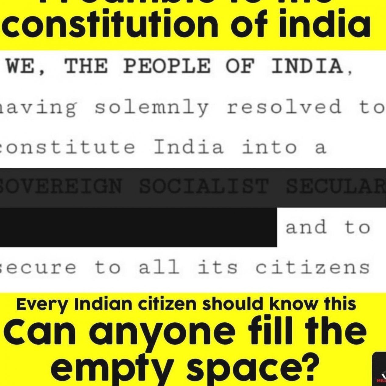 Every Indian Citizen Should Know The Preamble To Constitution Of India Clue For Empty Space I Sssdr Millio People Socialist Discus