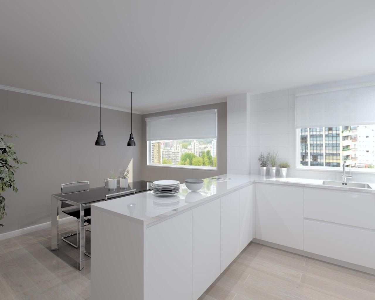 Cocina santos modelo line laminado blanco encimera - Cocina blanca encimera madera ...