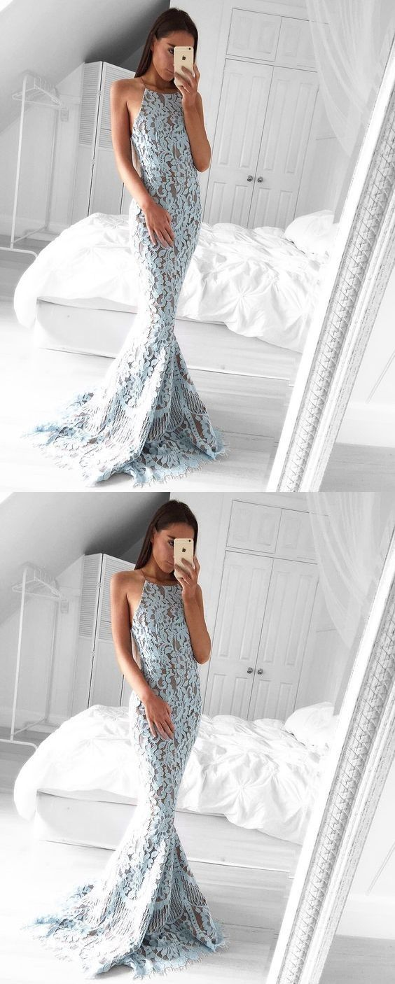 Unique mermaid halter light blue lace sweep train prom dresses