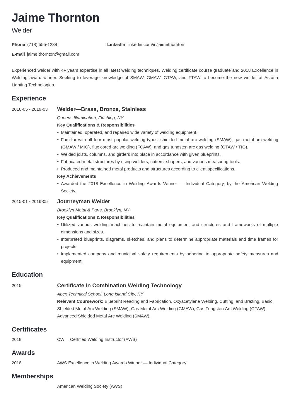 Welder Resume Example Template Minimo Resume Examples Job Resume Examples Job Description Template