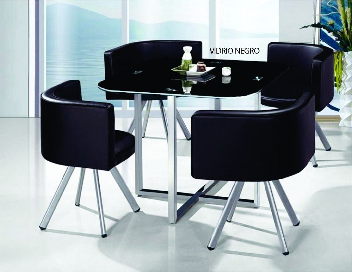 Juego de comedor 4 sillones sillas tapizados tapa de for Comedores de madera con cristal