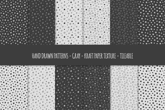 Gray Kraft Paper Seamless Patterns | Hand drawn pattern ...