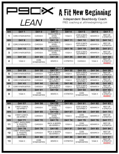 A Fit New Beginning – P90X Lean Workout Schedule | Craft
