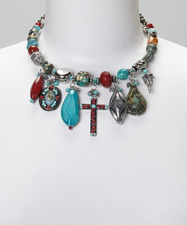 Another great find on #zulily! Turquoise & Red Beaded Charm Necklace #zulilyfinds