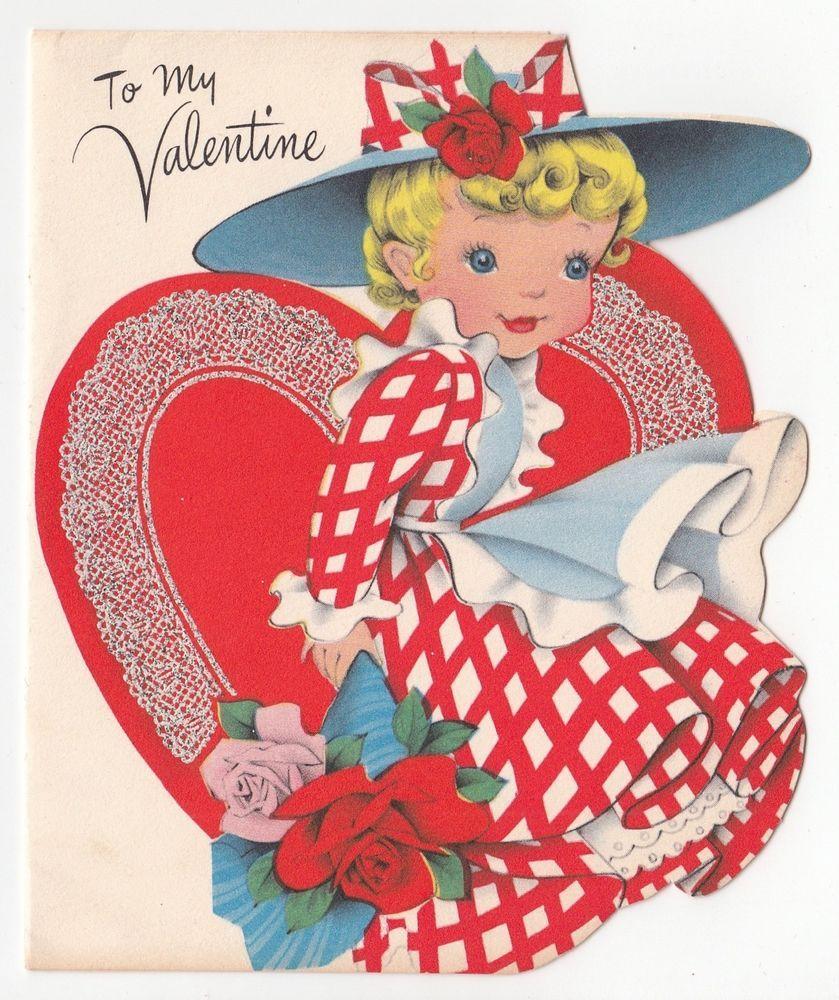 Vintage Greeting Card Valentine's Day Cute Girl Big Hat Heart Die ...