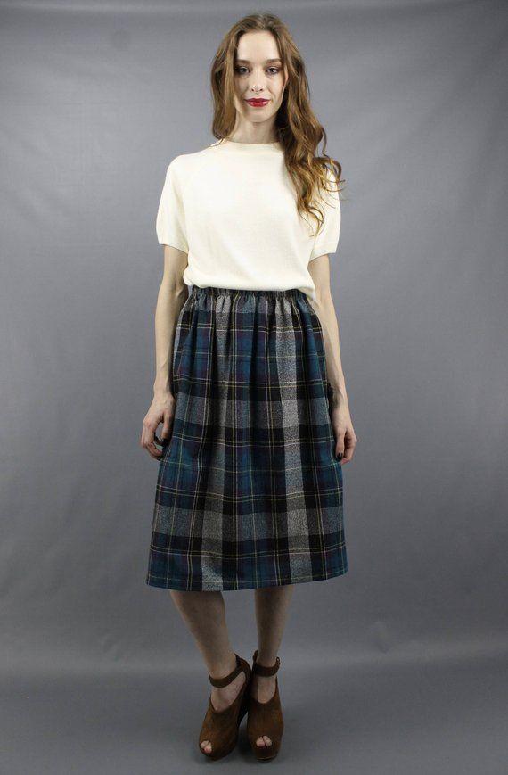 99c902f6a Plaid Knee Skirt Plaid Midi Skirt Blue Plaid Skirt Plaid Wool Skirt  Secretary Skirt 70s Skirt 1970s