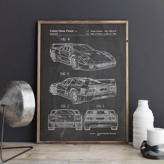 Car Art Ferrari Sports Car Car Poster Car Enthusiast Basement - Sports cars posters
