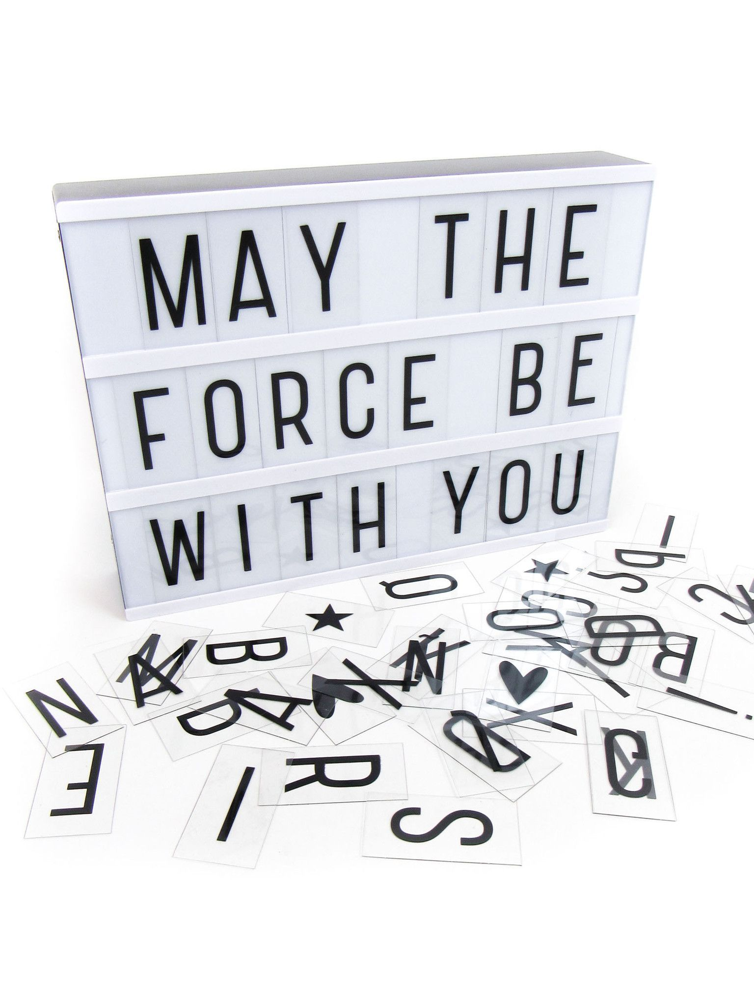 Decorative battery-powered LED lightbox with 85 letters and symbols for making your very own fun messages. You can change the messages as often as you like simply by sliding the letters, which are pri