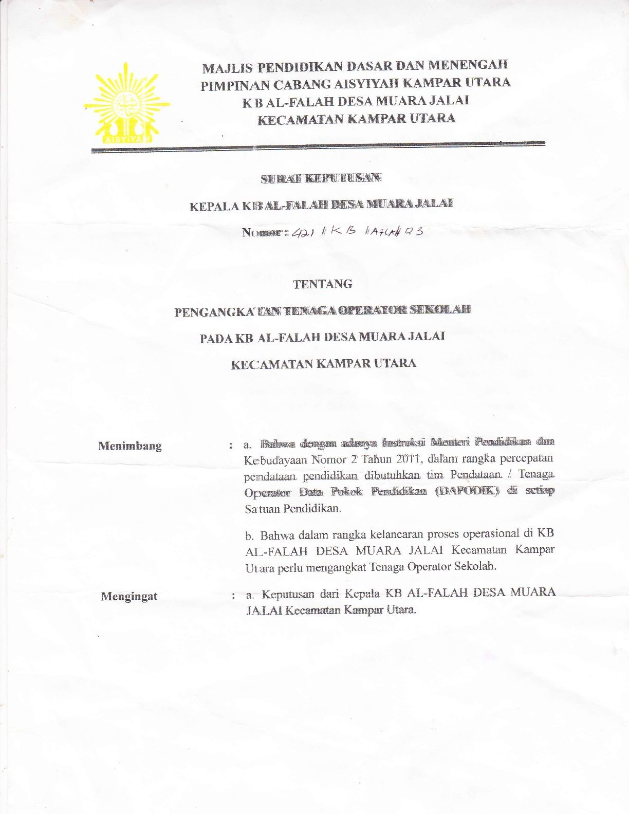 Contoh Sk Operator Sekolah Tk Paud Secercah Ilmu Sekolah Pendidikan Dasar Kop Surat