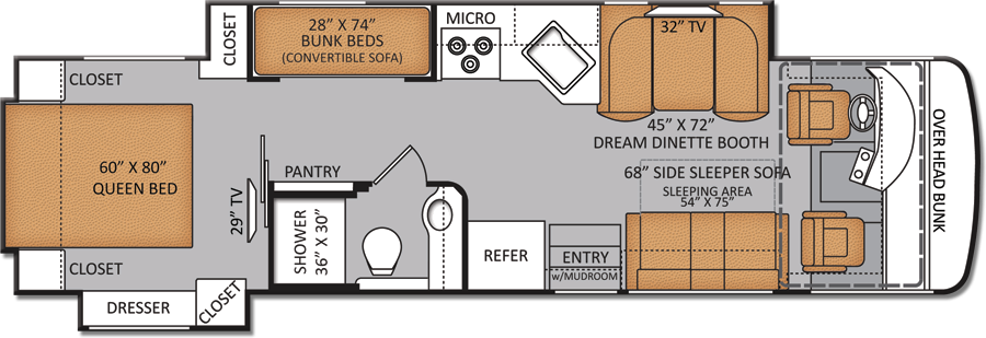 Rv Floor Plans With Bunk Beds New Bunkhouse Diesel