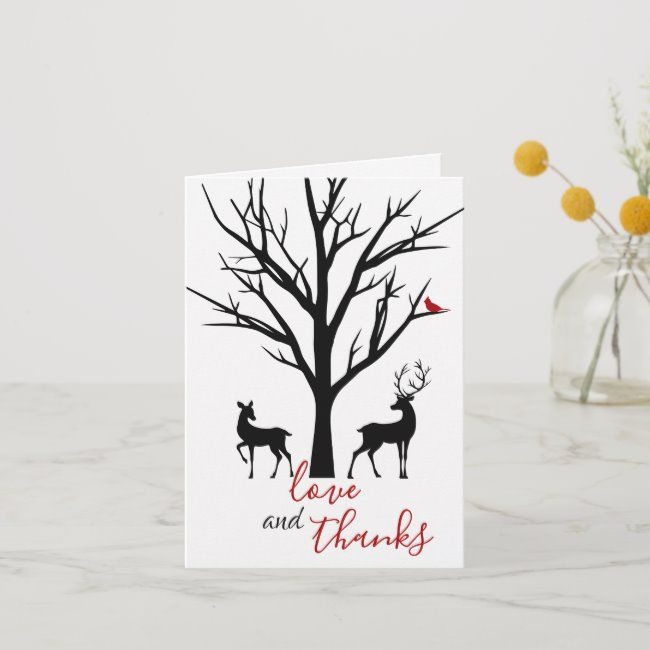 Love and Thanks Silhouette Deer Couple Winter Thank You Card