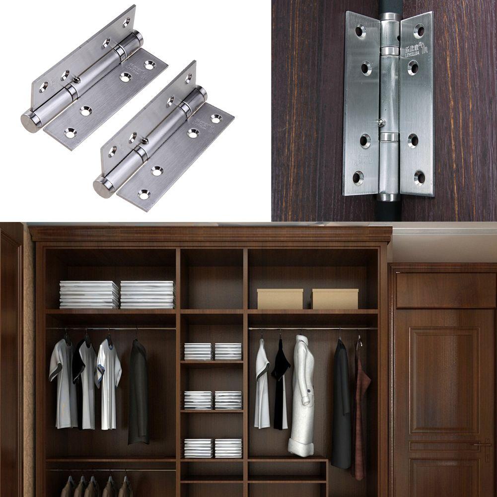 2pcsset Stainless Steel Cabinet Closet Door Hinges 90 Degree Self