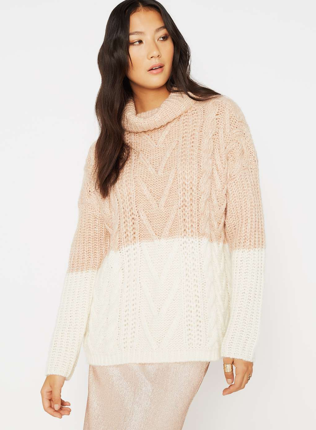 Pink And Cream Cable Chunky Knitted Jumper | Sweaters | Pinterest ...
