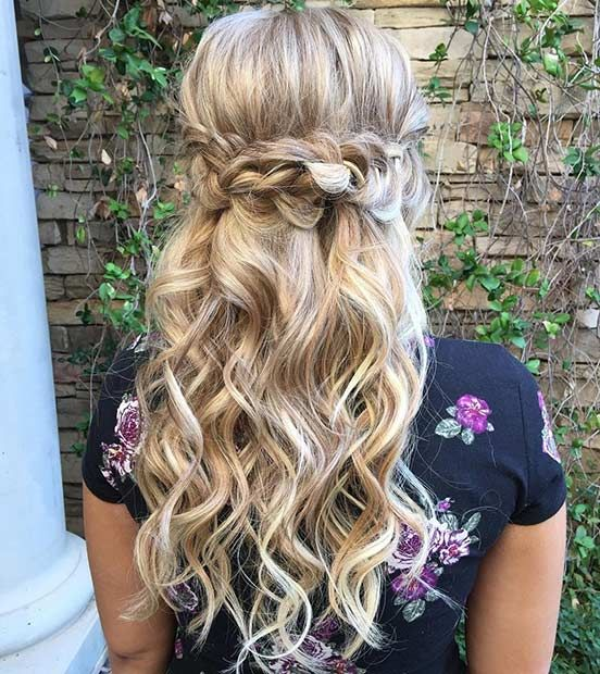 31 Half Up, Half Down Hairstyles for Bridesmaids | Prom, Half updo ...